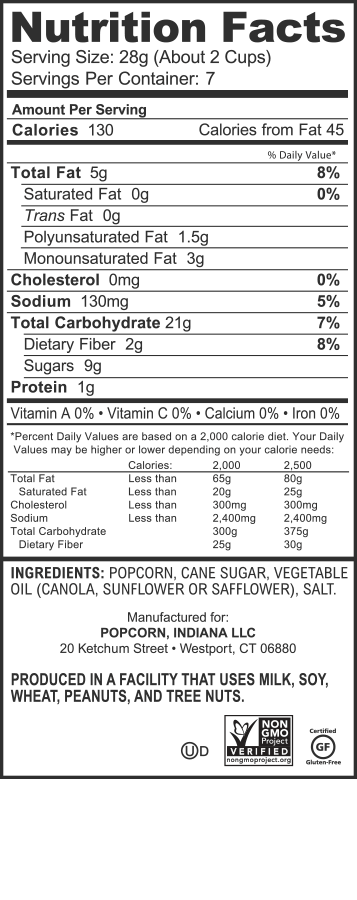 Nutrition Facts Popcorn Indiana